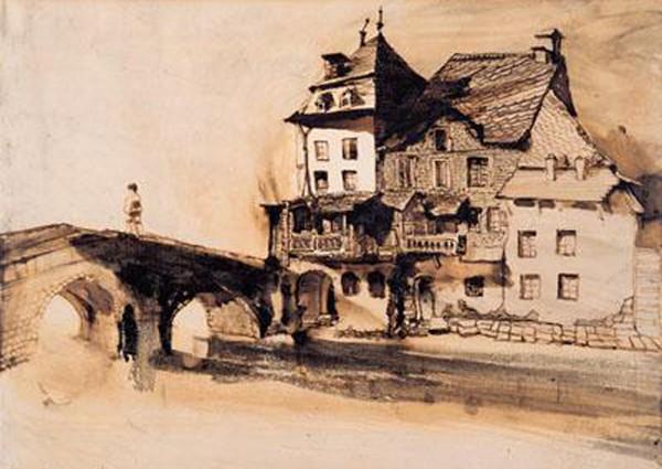 « La maison que j'habite au coin du pont », dessin de Victor Hugo, Vianden, 1871., musée littéraire Victor Hugo, Vianden, Grand-Duché de Luxembourg.