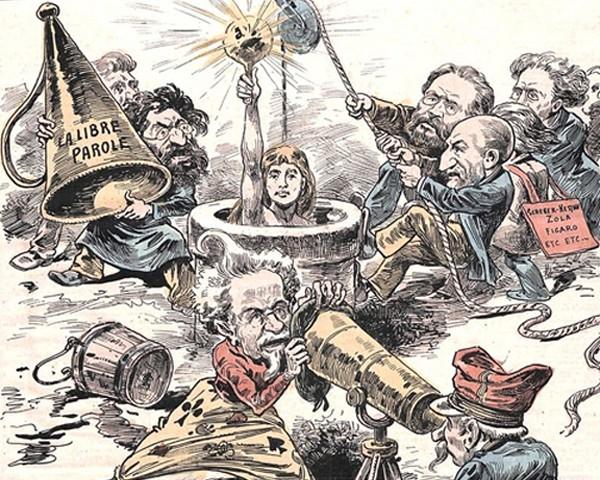 La Vérité, Finira-t-on par la faire sortir... ? Caricature dreyfusarde, Édouard Guillaumin Pépin, Le Grelot, 27e année, n° 1393, 19 décembre 1897.