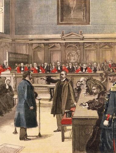 Émile Zola à la Cour d'assises,1898, lithographie, BnF, Paris.