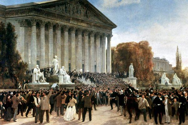 La foule devant le Corps législatif au matin du 4 septembre 1870 (Jacques Guiaud, 1870, musée Carnavalet, Paris)
