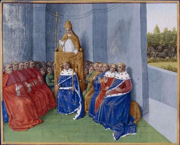 Urbain II prêchant la croisade en présence de Philippe Ier, devant l'assemblée des évêques et des princes, Les Grandes Chroniques de France, enluminées par Jean Fouquet, Tours, vers 1455-1460, département des Manuscrits, BnF, Paris.