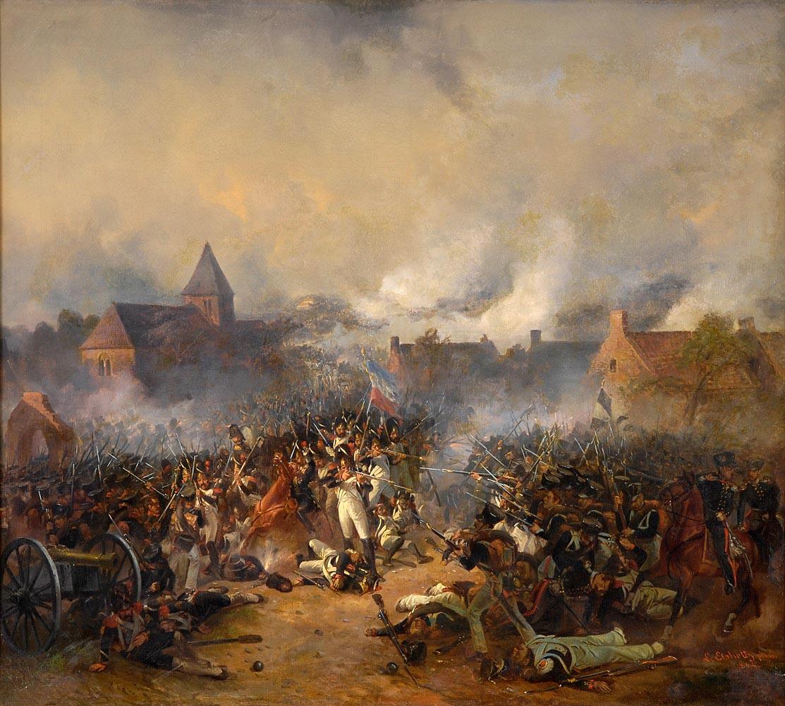 Assaut du village de Plancenoit lors de la bataille de Waterloo, par Elsholtz