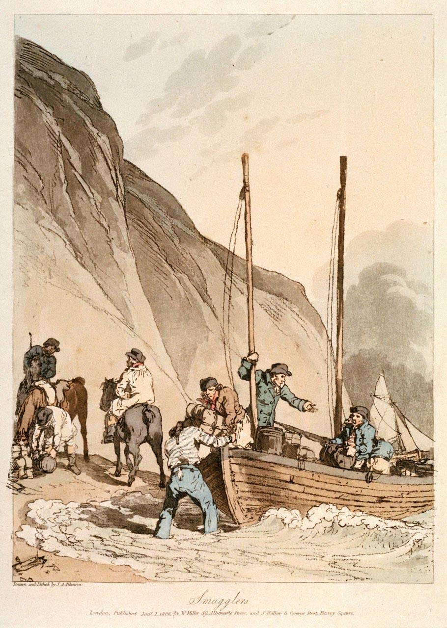 Contrebandiers débarquant leurs marchandises pendant le blocus continental, par Atkinson