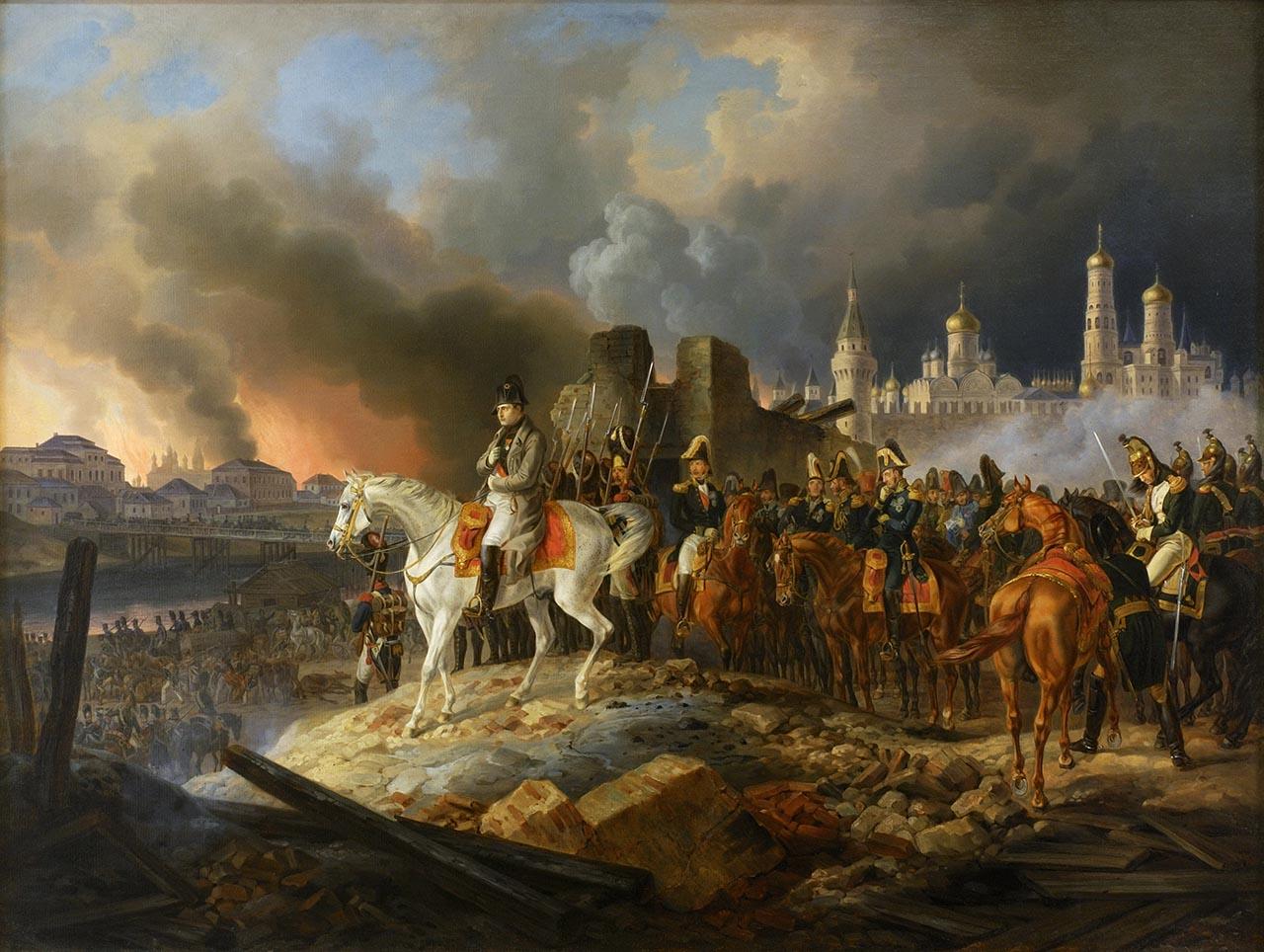 Les clochers dorés de Moscou pendant le grand incendie, le 15 septembre 1812