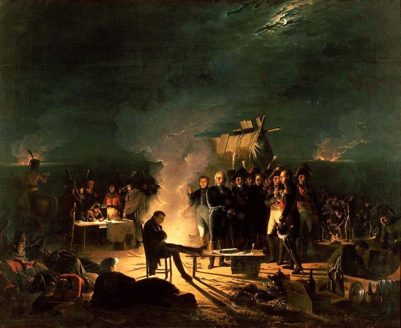 Bivouac de Napoléon sur le champ de bataille de Wagram, nuit du 5 au 6 juillet 1809, par Adolphe Roehn