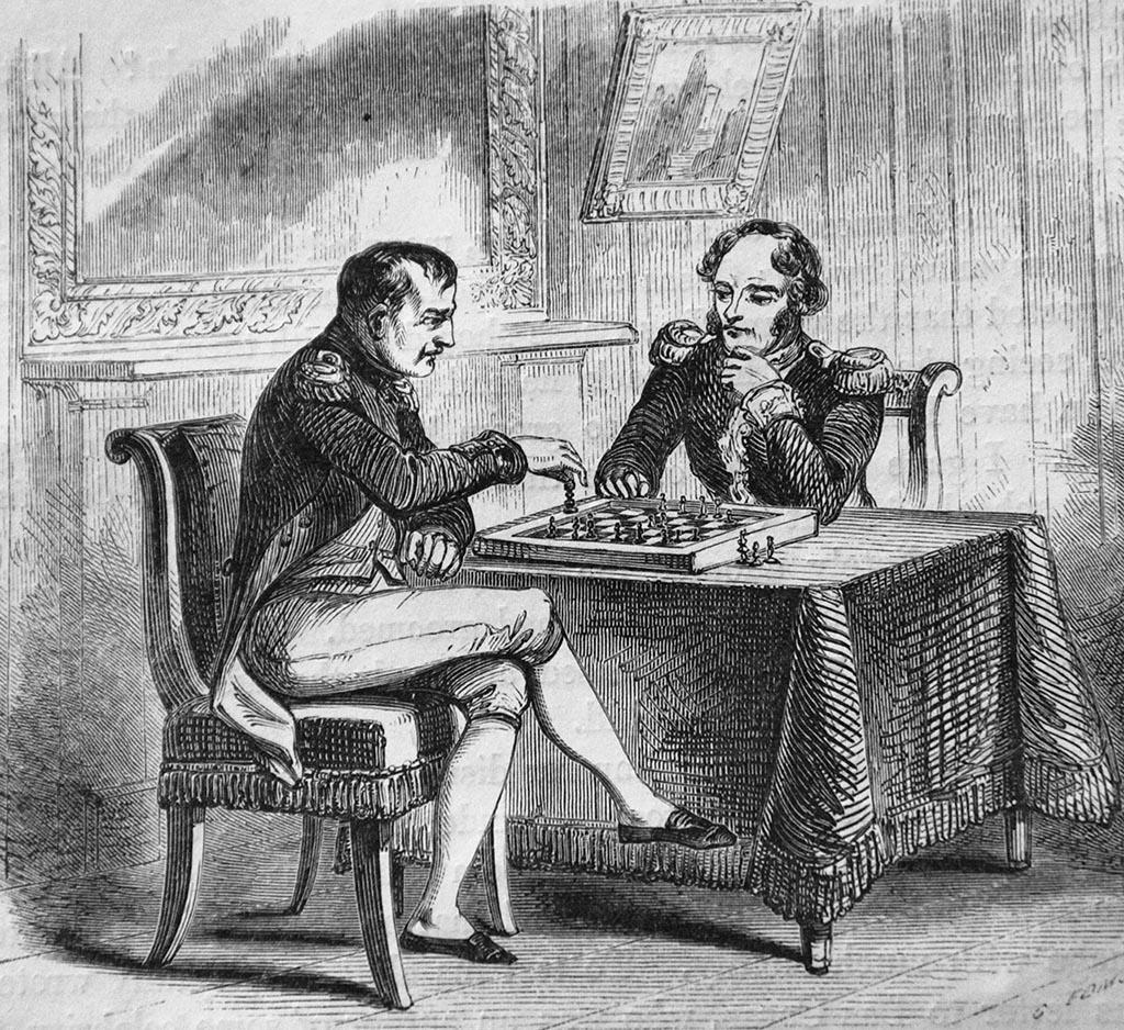 Napoléon jouant aux échecs à Sainte-Hélène