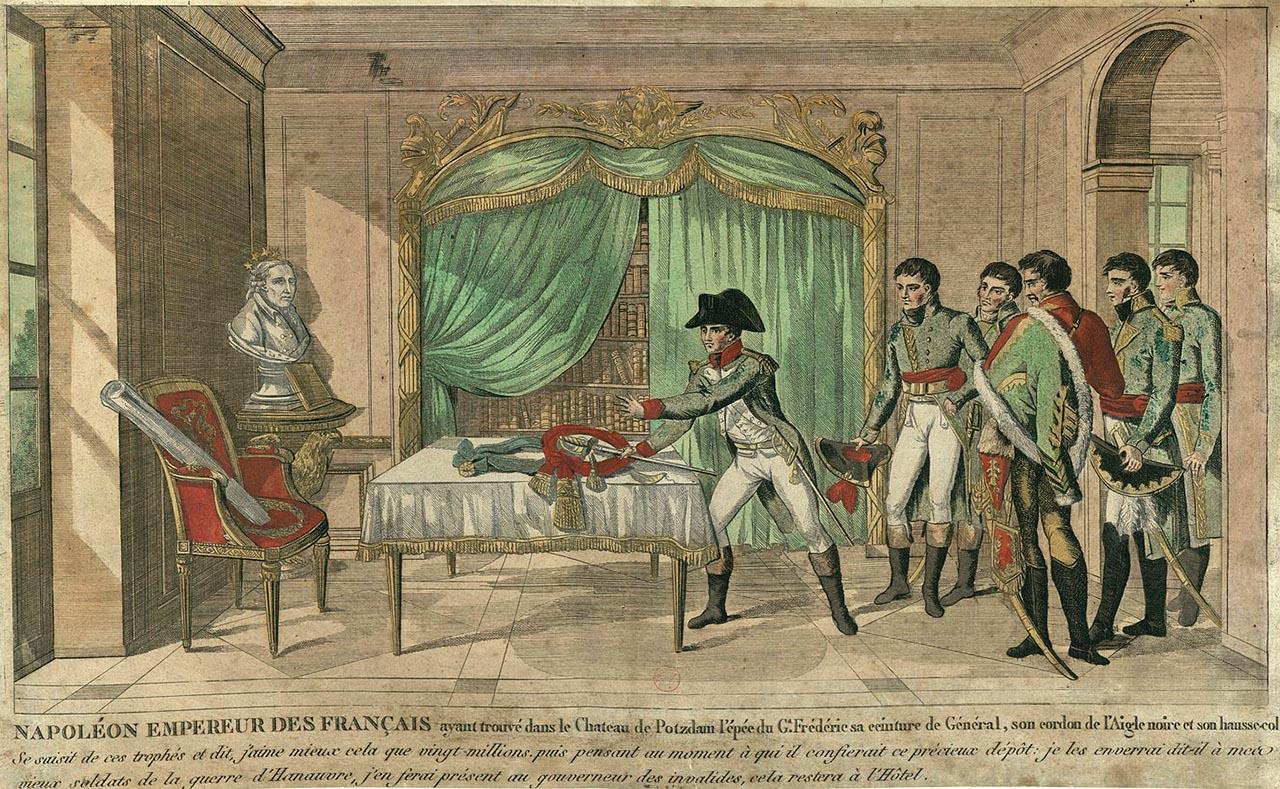 Napoléon découvre l'épée du Grand Frédéric au château de Potsdam, le 25 octobre 1806