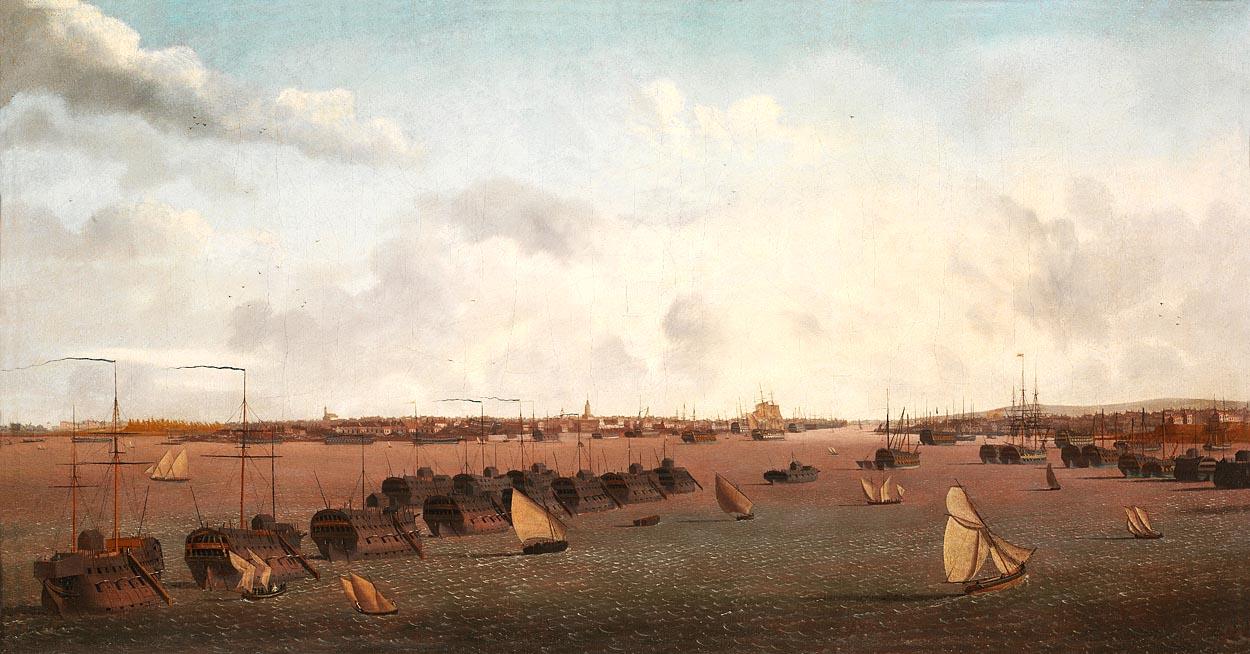 Pontons anglais dans le port de Portsmouth, par Garneray
