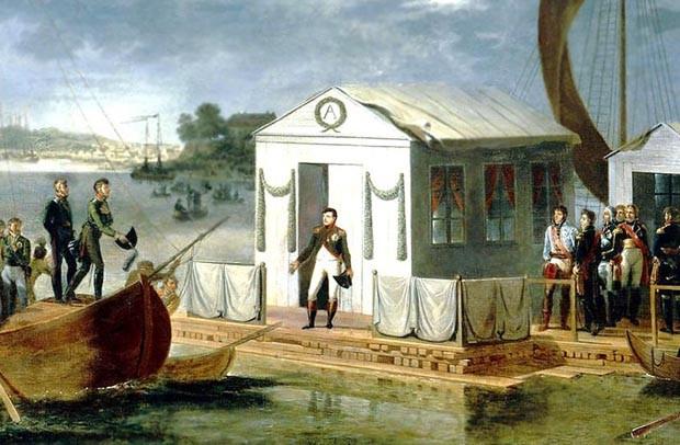 Entrevue de Napoléon Ier et du tsar Alexandre Ier de Russie sur le Niemen le 25 juin 1807, par Adolphe Roehn (1780-1867), château de Versailles