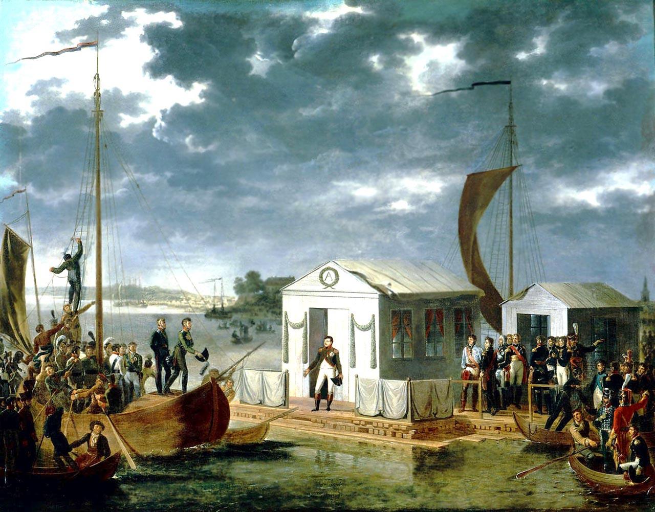 Entrevue de Napoléon Ier et du tsar Alexandre Ier de Russie sur le Niemen le 25 juin 1807, par Adolphe Roehn