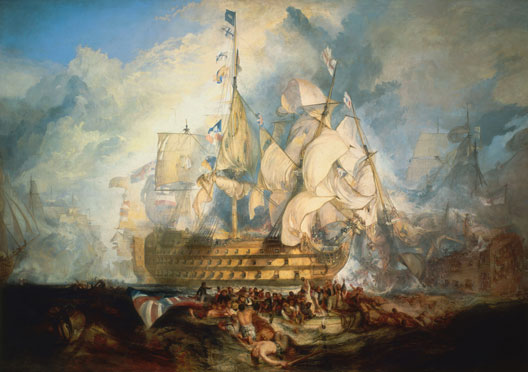 La bataille de Trafalgar, par William Turner (1822, Musée National Maritime, Londres)