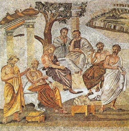 Mosaïque représentant l'Académie de Platon (Pompéi)