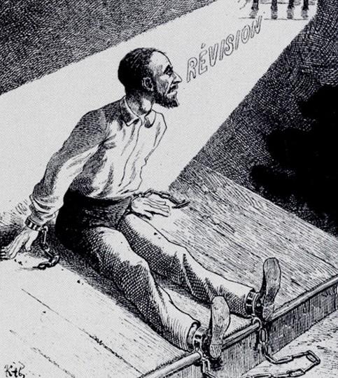 Alfred Dreyfus en prison. Vers la révision, « De la tombe à la lumière », dessin de Kab paru dans « La Comédie politique de Lyon », décembre 1898.