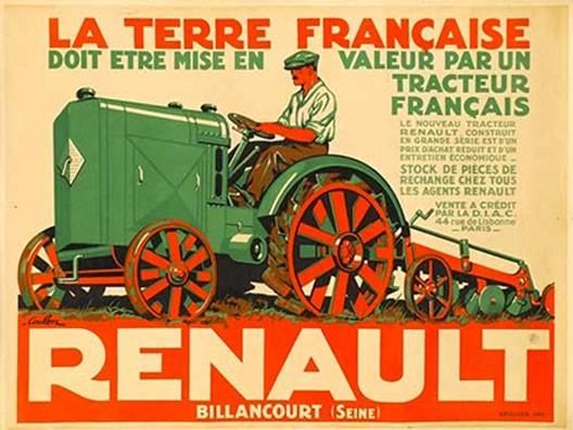 Éric de Coulon, Affiche pour le tracteur Renault, vers 1925