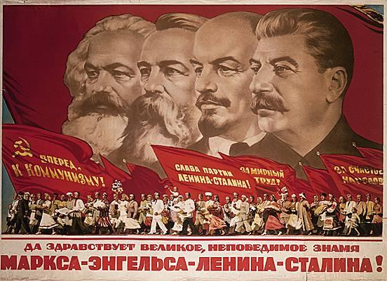 Affiche de propagande soviétique (Marx, Engels, Lénine, Staline)
