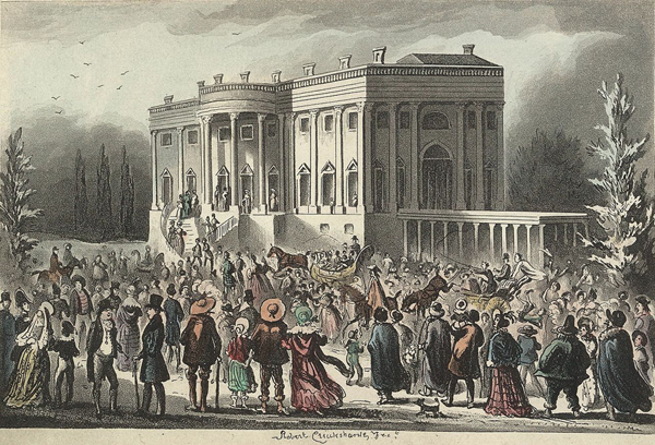Réception inaugurale du président Jackson le 4 mars 1829 (gravure de 1841, Library of Congress, Washington)