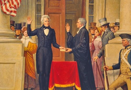 Andrew Jackson prêtant serment lors de son investiture le 4 mars 1829