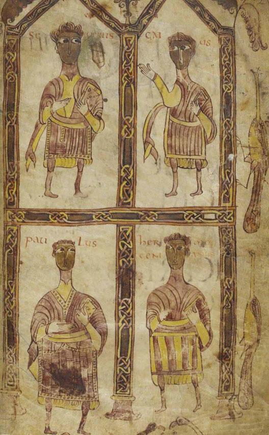 Le bréviaire d'Alaric, code de lois wisigoth publié en 506: on  voit ici le roi, un évêque, un duc et un comte (miniature d'une copie du IXe siècle, BNF)
