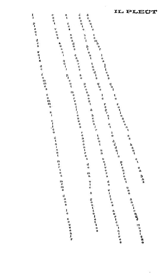 <em>Il pleut</em>, poème calligramme de Guillaume Apollinaire (1914)