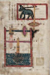 Schéma hydraulique, Al-Jazari, Syrie, 1315 (Metropolitan Museum, New York)