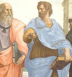 L'Ecole d'Athènes, de Raphaël. Au centre, Platon (toge rouge) est représenté sous les traits de Léonard de Vinci et tend sa main vers le ciel, allégorie du monde des idées. Aristote (toge bleue) représenté sous les traits de Michel Ange et désigne la terre, représentant le monde sensible.