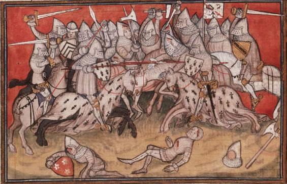 La bataille d'Auray, 29 septembre 1364 (miniature de Jean Cuvilier, Chanson de Bertrand du Guesclin, vers 1380, Bristish Library)