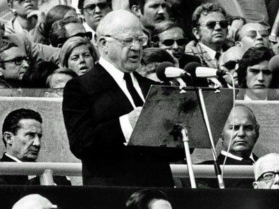 Avery Brundage, président du CIO, le 5 septembre 1972 dans le stade olympique de Munich (DR)