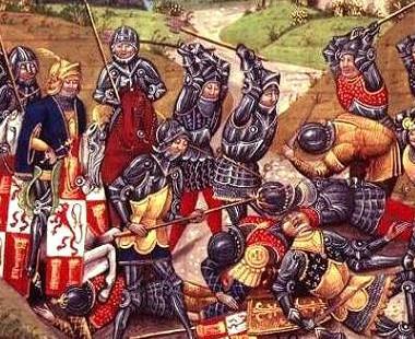 Azincourt : massacre des prisonniers français par les coutiliers gallois sous le regard d'Henry V