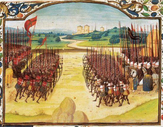 Bataille d'Azincourt (miniature, Abrégé de la Chronique d'Enguerrand de Monstrelet, XVe siècle, Paris, BNF)