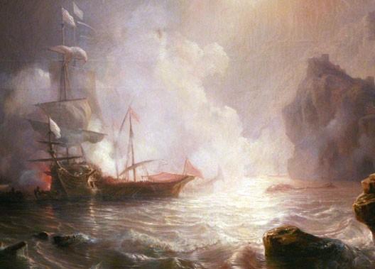 Combat d'un vaisseau français et de deux galères barbaresques, par Théodore Gudin (1802-1880)