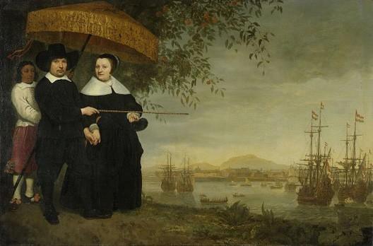 Aelbert Cuyp, Marchand hollandais de la VOC et sa femme devant Batavia, vers 1650, Amsterdam, Rijksmuseum