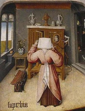 Jérôme Bosch, L'Orgueil, détail des Sept péchés capitaux, vers 1500, Madrid, musée du Prado