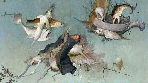 Jérôme Bosch, détails de La Tentation de saint Antoine, 1501, Lisbonne, Museu Nacional de Arte Antigua