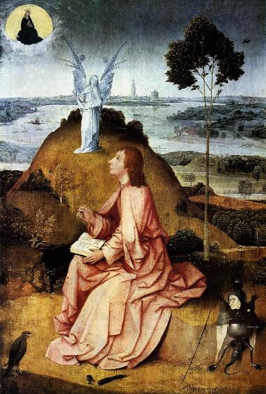 Jérôme Bosch, Saint Jean à Patmos, vers 1490, Berlin, Staatliche Museum.