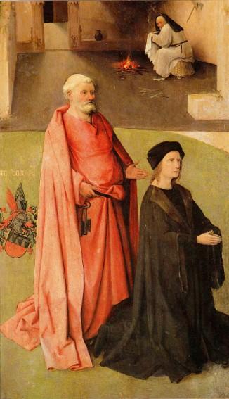 Jérôme Bosch, détail du Triptyque de l'Adoration des Mages, le donateur et saint Pierre, 1495, Madrid, musée du Prado.