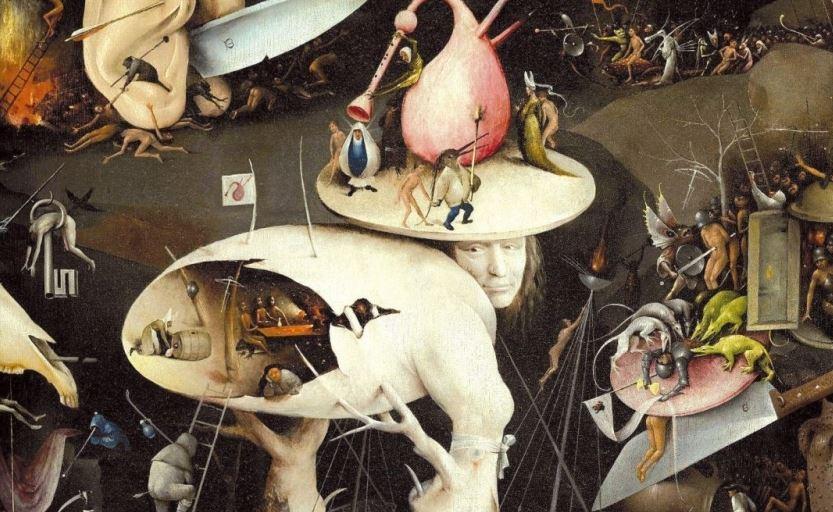 Jérôme Bosch, détails du Jardin des délices, 1503, Madrid, musée du Prado