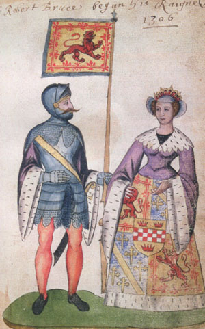 Robert the Bruce and his wife Isabelle de Mar, with the coat of arms of Scotland