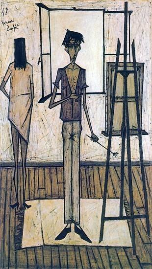 Autoportrait, « Le peintre et son modèle », 1948, Bernard Buffet, DR.