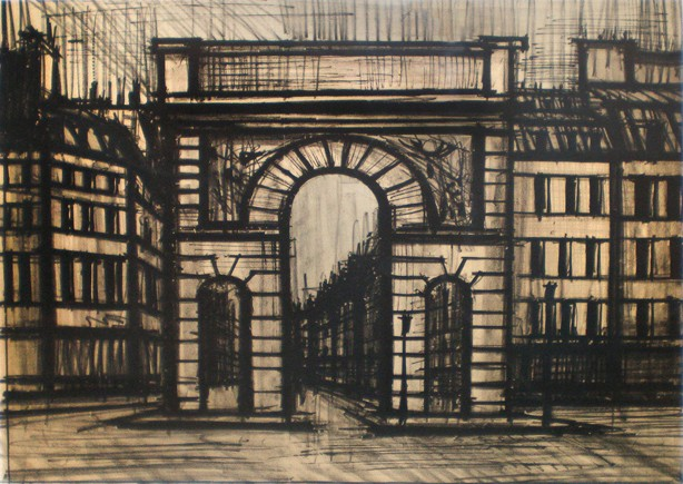 « La porte Saint-Martin », Paris Xe, lithographie, Bernard Buffet, DR.