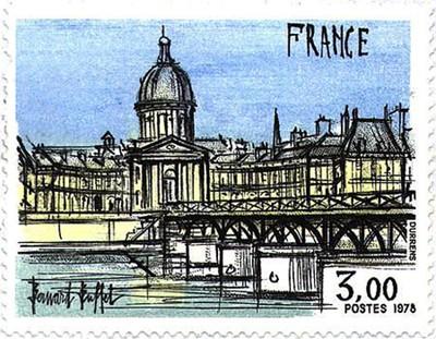 « L'Institut et le Pont des Arts », 1978, Bernard Buffet, timbre, valeur faciale 3 francs, DR.