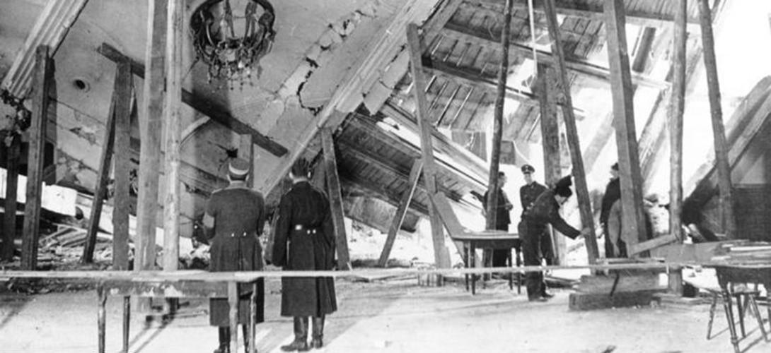 Le Bürgerbräukeller après l'attentat de 1939 (Bundesarchiv)