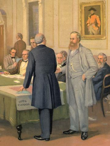 « Les Pères de la Confédération » à la Conférence de Londres au Westminster Palace en 1866, John David Kelly, vers 1889, Alberta, Bibliothèque et Archives du Canada.