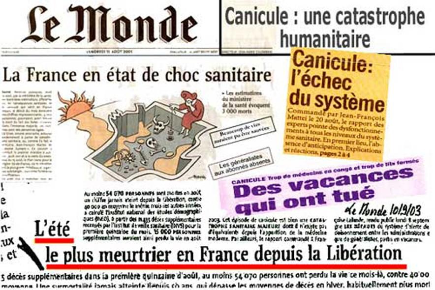 La Une du Monde le 10 septembre 2003.