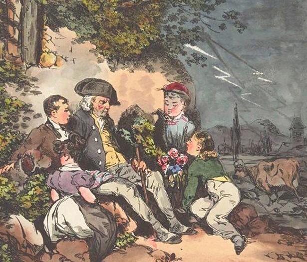 L'orage, par Henry Monnier et Pierre-Jean de Béranger, lithographie, 1828, BnF Paris.