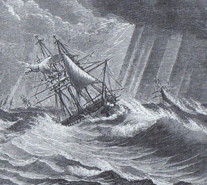 Au large des Antilles, le 10 octobre 1780, illustration, chroniques météorologiques de Paris.