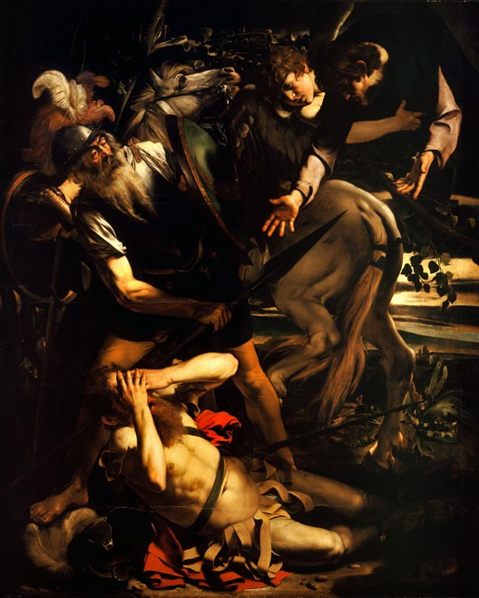 Conversion de saint Paul, par Le Caravage (1600, huile sur bois de cyprès, Odescalchi Balbi Collection, Rome)