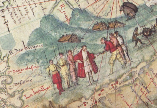 Jacques Cartier représenté sur une carte, vers 1540