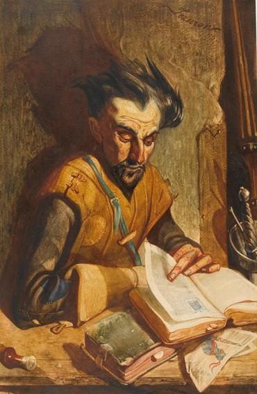 Philippe Auguste Jeanron, Don Quichotte lisant les romans de chevalerie, XIXe siècle, Dijon, musée Magnin.