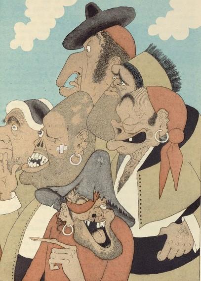 Albert Dubout, illustrations de Cervantès, Don Quichotte, éd. Sous l'emblème du secrétaire, 1937.