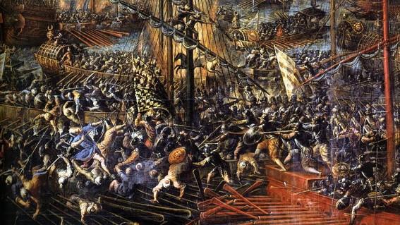 Andrea Vicentino, La Bataille de Lépante (détail), 1603, Venise, Palais ducal.